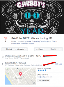 Grubbys FB Event 2019